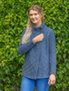 Women's Two Button Aran Cardigan - Blue Marl