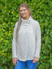 Women's Two Button Aran Cardigan  - Natural White