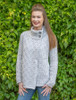 Women's Two Button Aran Cardigan - Silver Marl