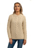 Rope Cable Crew Aran Sweater - Oatmeal Marl