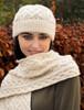 Super Soft Heart Design Aran Hat - Natural White