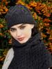 Super Soft Heart Design Aran Hat - Charcoal