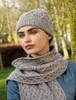 Super Soft Heart Design Aran Hat - Soft Grey