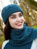 Super Soft Heart Design Aran Hat - Teal