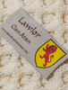 Lawlor Clan Aran Throw - Label