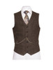 Oscar Wilde Single Breast Brown Tweed Waistcoat