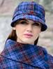 Ladies Tweed Flapper Cap - Camel Red & Blue Plaid