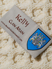 Kelly Clan Aran Baby Blanket - Label