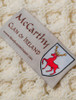 Mc Carthy Clan Aran Baby Blanket - Label