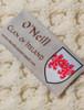 O'Neill Clan Aran Baby Blanket - Label