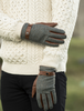 Kerry Tweed & Leather Gloves - Moss Green