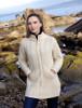 Ladies Merino Cable Design Zip Coatigan - Natural White