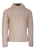 Women's Aran Cable Crew Neck Sweater - Wicker