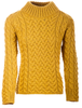 Women's Aran Cable Crew Neck Sweater - Sunflower Yellow