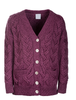 Super Soft V- Neck Chunky Cable Knit Cardigan - Jam