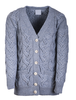 Super Soft V- Neck Chunky Cable Knit Cardigan - Ocean Grey