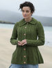 Super Soft Luxury Button-Up Flared Aran Cardigan - Meadow Green