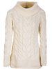 Luxury Chunky Cable Cowl Neck Aran Sweater - Classic Aran