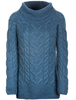 Luxury Chunky Cable Cowl Neck Aran Sweater - Irish Sea