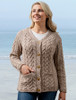 Super Soft V-Neck Button Up Cable Knit Cardigan - Toasted Oat