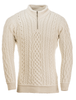 Mens Super Soft Half Zip Aran Troyer - Classic Aran