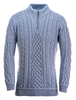 Mens Super Soft Half Zip Aran Troyer - Ocean Grey
