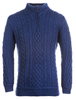 Mens Super Soft Half Zip Aran Troyer - Ink