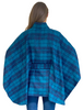 Belted Wool Bouclé Tweed Cape - Turquoise & Navy Plaid