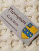 Thompson Clan Aran Throw - Label