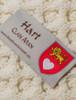 Hart Clan Aran Throw - Label