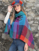 Shawl Collar Herringbone Poncho - Donegal Red
