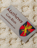 Matthews Clan Aran Poncho - Label