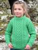 Kid's Heart Design Aran Sweater - Green Marl