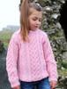 Kid's Heart Design Aran Sweater - Pink