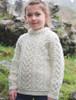 Kid's Heart Design Aran Sweater - Natural White