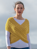 Merino Aran Cable Crossover Wrap with Buttons - Sunflower Yellow
