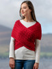Merino Aran Cable Crossover Wrap with Buttons - Chillipepper