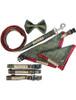 Tweed Dog Collar Metal Buckle - Two Tone Green & Red