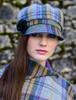 Ladies Tweed Newsboy Hat - Mustard & Charcoal Plaid