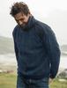 Men's Aran Diamond Draw-String Sweater - Nightshade