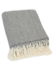 Luxury Cashmere Wool Throw - Grey Herringbone