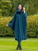 Donegal Tweed Pure Wool Country Walking Cape - Teal