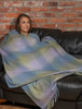 Lambswool Throw - Blue Green & Lilac Plaid