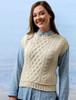 Ladies Cropped Crew Neck Aran Sweater Vest