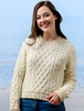 Ladies Cropped Aran Sweater