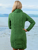 Cable Aran Dress with Cowl Neck - Kiwi
