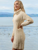 Cable Aran Dress with Cowl Neck - Natural White