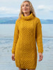 Cable Aran Dress with Cowl Neck - Sunflower Yellow