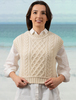 Ladies Cropped Crew Neck Aran Sweater Vest - White