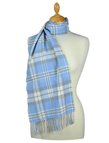 Fine Merino Plaid Scarf - Light Blue Grey